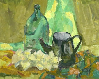Green still life, casual painting on cardboard