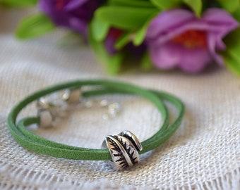Leaf bracelet Pandora charm leather bracelet Summer wristband Garden bracelets Nature Gardener gift Gardening Fall jewelry Pandora beads