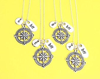 Best Friend necklace- Set of 4, silver compass necklace, compass charm, 4best friend necklace, distance friend, 4 bff necklace, compass