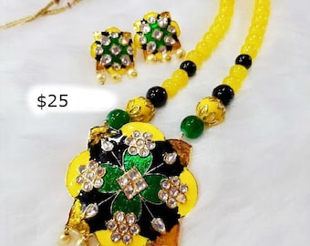 Handmade yellow and green enameled beaded necklace set