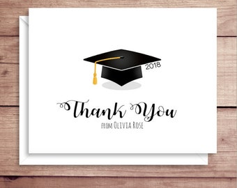 Graduation Note Cards - Grad Thank You Cards - Graduation Stationery - Graduation Thank You Notes - Folded Grad Note Cards