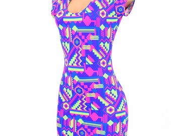 NEON Purple & Lime Aztec Print Bodycon Clubwear Dress with Cap Sleeves and Scoop Neckline UV Glow  -E8113