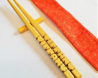 Chopsticks in Pau Amarello Wood (Yellowheart), Personalized , Custom Carved to Order