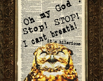 Oh my God, It's Hilarious on Antique Dictionary Page, art print, Wall Decor, Wall Art Mixed Media Collage Buy2get1free