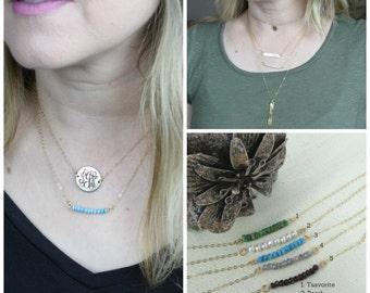 Gemstone bar necklace - Layering necklace -Sterling Silver, Gold-filled, Rose Gold filled - gemstone bar necklace