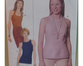 "Halter Top Pattern, Plus Size, Blouse, Cut-in Shoulders, Sleeveless, Fitted, Vogue No. 9855 UNCUT, Size 20 22 24 (42-46"" 107-117cm)"