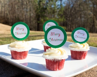 Merry Christmas Cupcake Topper (12ct), Christmas Cupcake Topper, Holiday Topper, Food Topper, Christmas Party, Holiday Themed