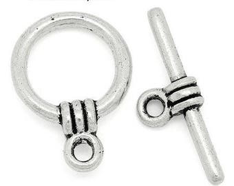 10 clasps metal Toggle silver 11 x 15 mm
