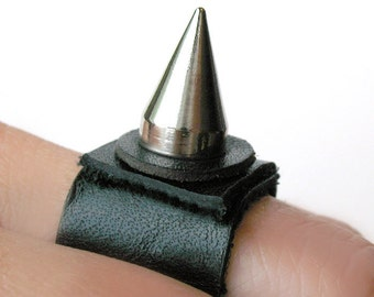 Black Leather Ring with Single Wicked Spike, Eco-Friendly Leather Ring, Made in Seattle WA USA, Punk, Minimal Jewelry, Unisex