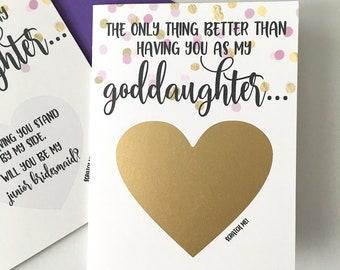 Junior Bridesmaid Proposal for Goddaughter Scratch Off Card- From Godmother - Godparents - Junior Bridesmaid Card - PURPLE AND GOLD