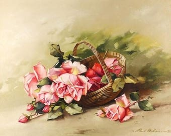 Oil Painting Of Roses PAUL WILSON Signed Dated