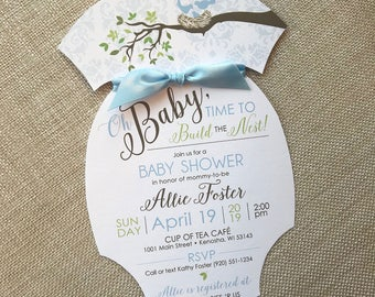 Baby Love Birds Shower Invitation, Onesie Baby Shower Invite, Baby Blue Bird Nest Shower Invitation, Spring Baby Shower, Blue Damask Invite