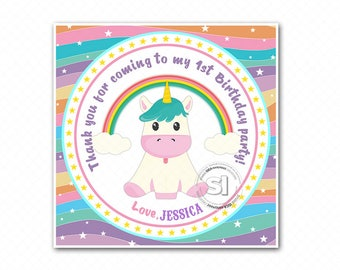 "Custom Printable baby Unicorn-Rainbow 2.5"" Tags-Thank you Printable Square Tags- Personalized Tags, DIY (You Print) 2.5"" tags-Digital file"