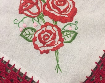 Vintage Inspired Red Rose tortilla warmer, napkin, tablecloth, with red crochet trim