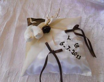 chocolate beige ring bearer pillow