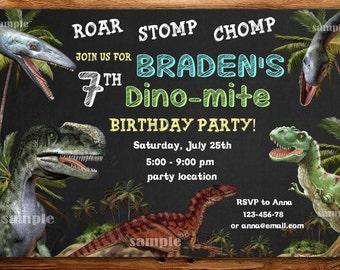 Dinosaur invitation etsy sale dinosaur birthday invitation dinosaur invitationdino birthday invitationdino mite invitation filmwisefo