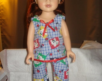 Handmade 3-piece blue and white checked Summer short set for 18 inch Dolls - ag162