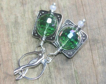Simply square dangle earrings faceted GREEN crystal beads