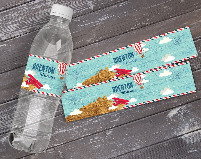 Aviator | Airplane | Hot Air Balloon Party Water Bottle Labels, Retro Aviator Birthday, Map Plane Party - INSTANT Download Printable PDFs