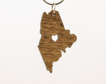 Maine Wooden Keychain - ME State Keychain - Wooden Maine Carved Key Ring - Wooden ME Charm