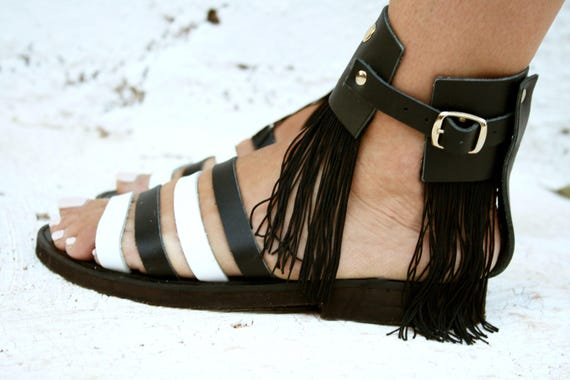 Black and white crochet sandals