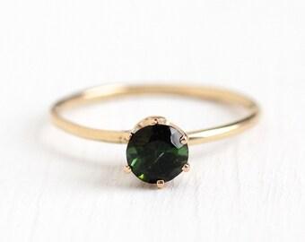 Green Tourmaline Ring - Vintage 10k Rosy Yellow Gold Round Cut .49 CT Green Gemstone - Size 5 Stick Pin Conversion Fine Jewelry