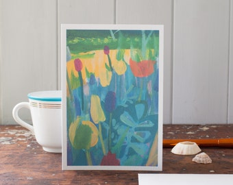 yellow tulips - greeting card - for women - gardeners - flower lovers - abstract - expressionist - colourful painting - blank art card