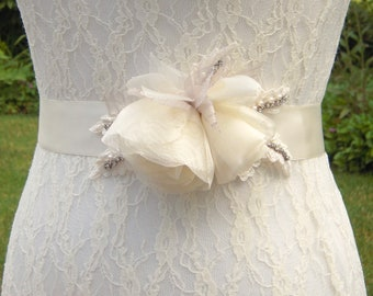 Ivory Wedding Dress Sash Belt, Floral Bridal Sash with Organza Flowers and Venice Lace & Sheer Dove Gray Leaves*Rhinestones*Pearls - BB0036
