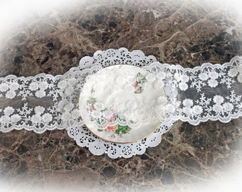 Reneabouquets Trim- 4.5 Inch Wide Floral Embroidered  Lace In White, Embroidery,  Venice , Bridal, Costume Design, Lace Applique, Crafting