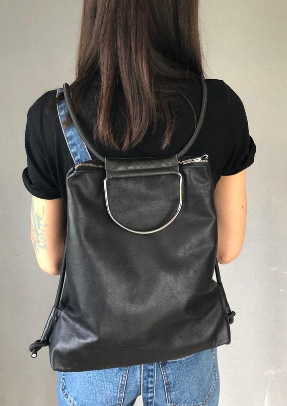 Black leather backpack handbag black with elegant strap gift for women