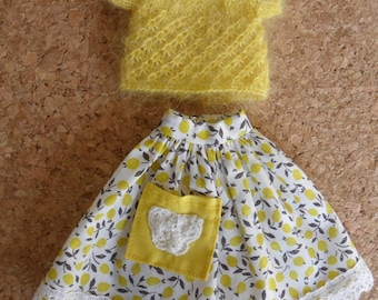 BLYTHE DOLL SET -- Liberty print Skirt and Mohair/Silk Knitted top --