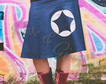 Star Bright A Line Denim Skirt with Applique and Embroidery Size 14