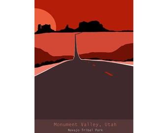 SALE - Monument Valley, Utah - Original Graphic Art Poster
