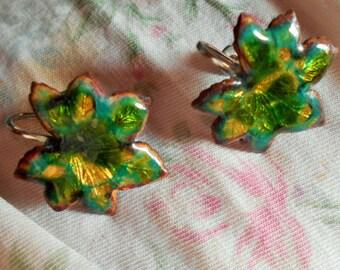 Maple Leaf enameled Screw Back earrings