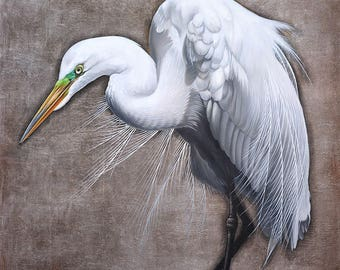 Contemporary Egret Painting Reproduction • FOCAL POINT on SILVER • Tropical Bird • Bird Art • Egret Art Print • Great White Egret