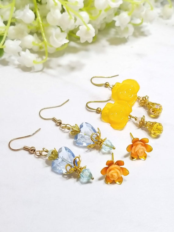 Rose Floral earring set of three (orange and blue)