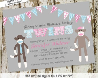 sock monkey gender reveal invitation twins baby shower couples birthday coed diaper wipes brunch sprinkle sip see gray | 1523 Katiedid Cards
