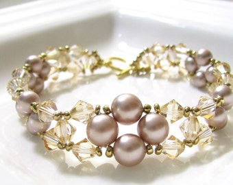 Swarovski Crystal and Pearl Bracelet PDF Pattern