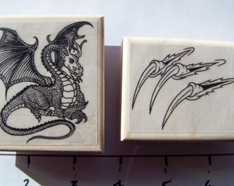 Lot of 2 Dragon &  Dragon Claws brand new mounted rubber stamps