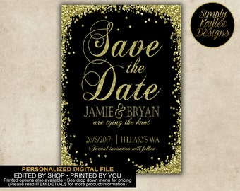 Black and Gold Save the Date Cards