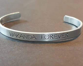 Wakanda Forever - Black Panther Inspired Aluminum Bracelet Cuff - King T'Challa - Hand Stamped