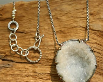 Round unique druzy pendant necklace in sterling silver setting/TP