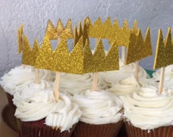 Crown Cupcake Toppers - Set of 10
