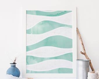 Ocean Waves Abstract, Modern Nursery Decor, Turquoise Print, Coastal Wall Art, Beach Bathroom Artwork, Large Poster Canvas, Blue Painting