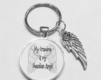 Grandma Angel, Guardian Angel Keychain, In Heaven Memory Wing Miss You Sympathy Gift Keychain