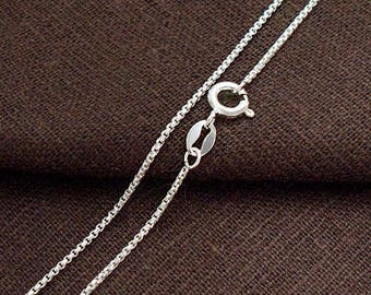 16 inches of 925 Sterling Silver Box Chain Necklace  1.1 mm.  :th2631-16
