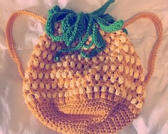 Pineapple Express Backpack, crochet pineapple backpack, crochet bag, pineapple