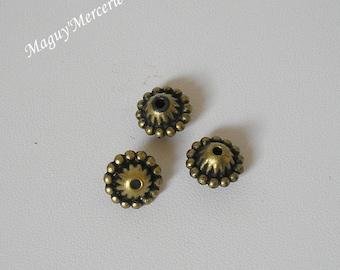 Set of 3 beads acrylic bronze