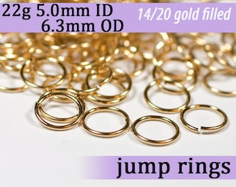 22g 5.0mm ID 6.3mm OD gold filled jump rings -- 22g5.00 goldfill jumprings 14k goldfilled