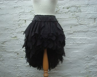 Black Hi lo skirt Tattered skirt Upcycled gown Gothic wedding skirt Woodland Boho Mori heigh low skirt ruffled rags